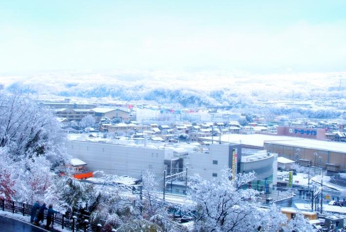 雪の韮崎市